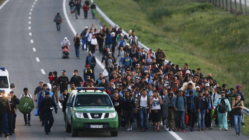 Flüchtlinge auf ungarischer Autobahn: Auf dem Weg nach Budapest