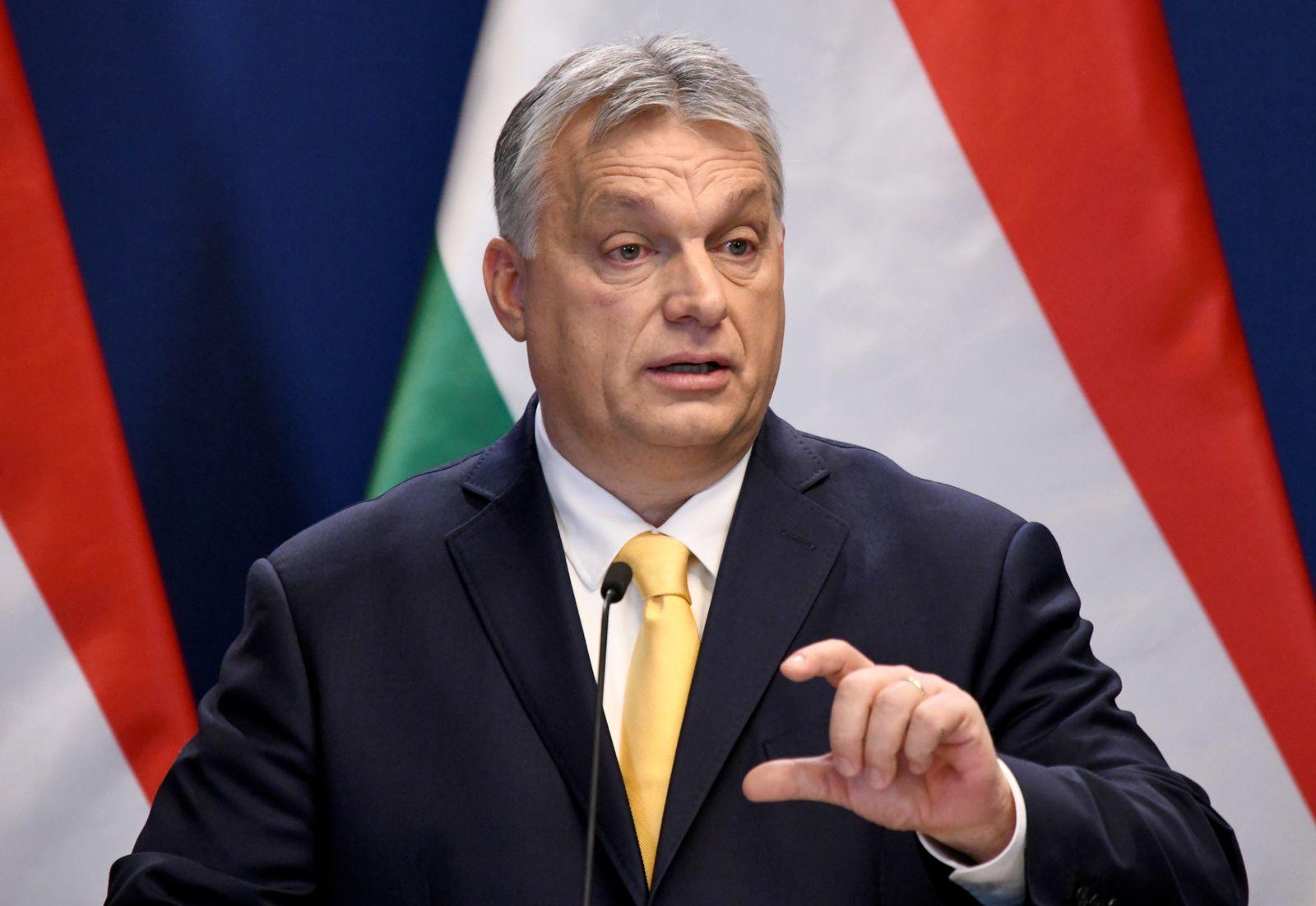 Hungarian Prime Minister Viktor Orban holds an international news conference in Budapest