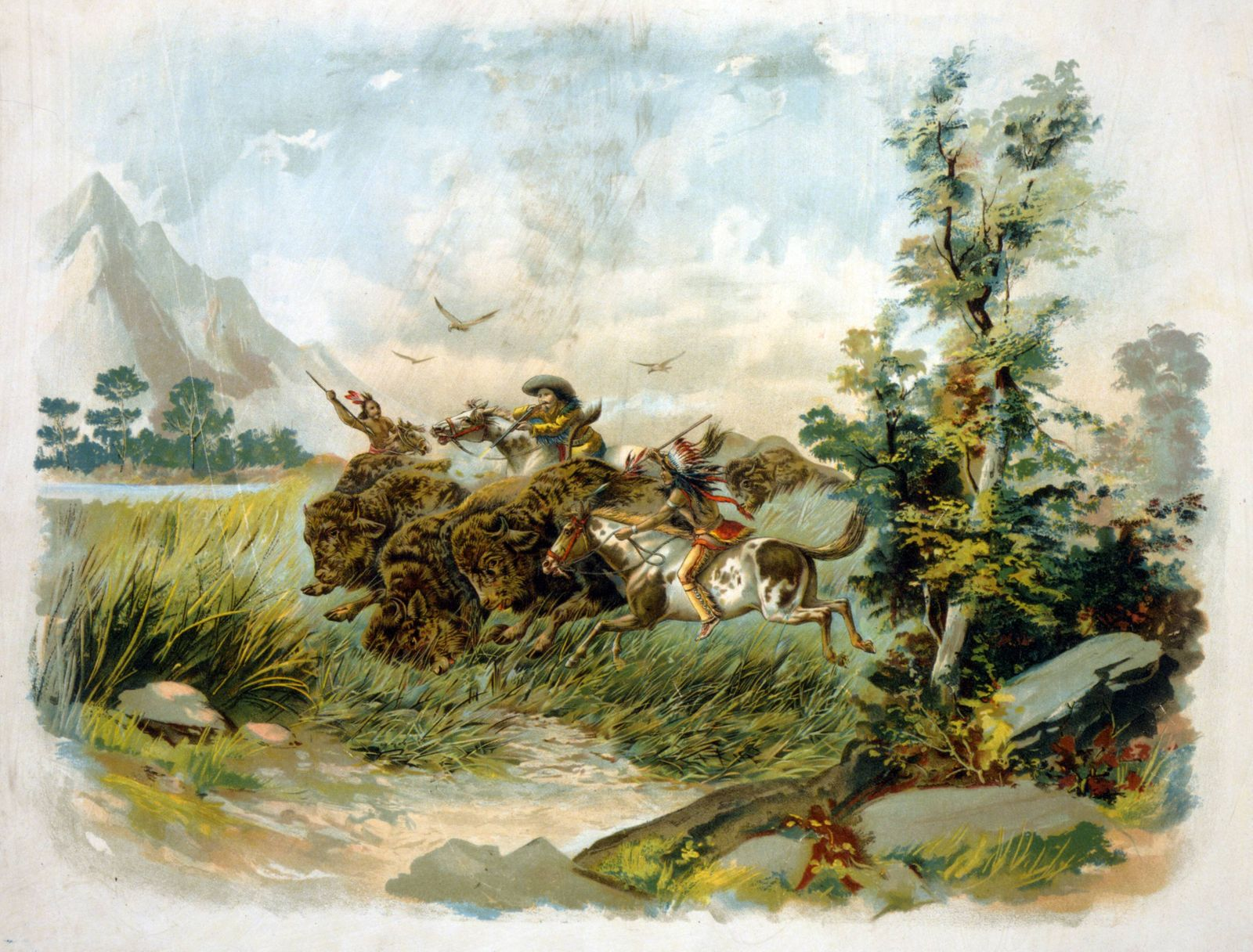 Buffalo hunt in the wild west Published 1897 A buffalo hunter shooting a buffalo as two Natives rid