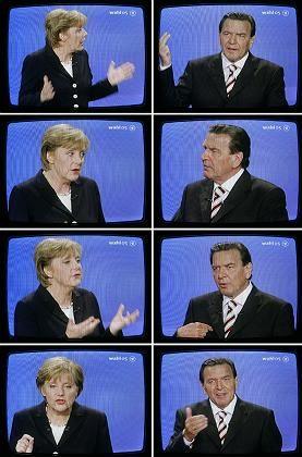 Duell im Fernsehen: Schlagabstausch zwischen Merkel und Schröder