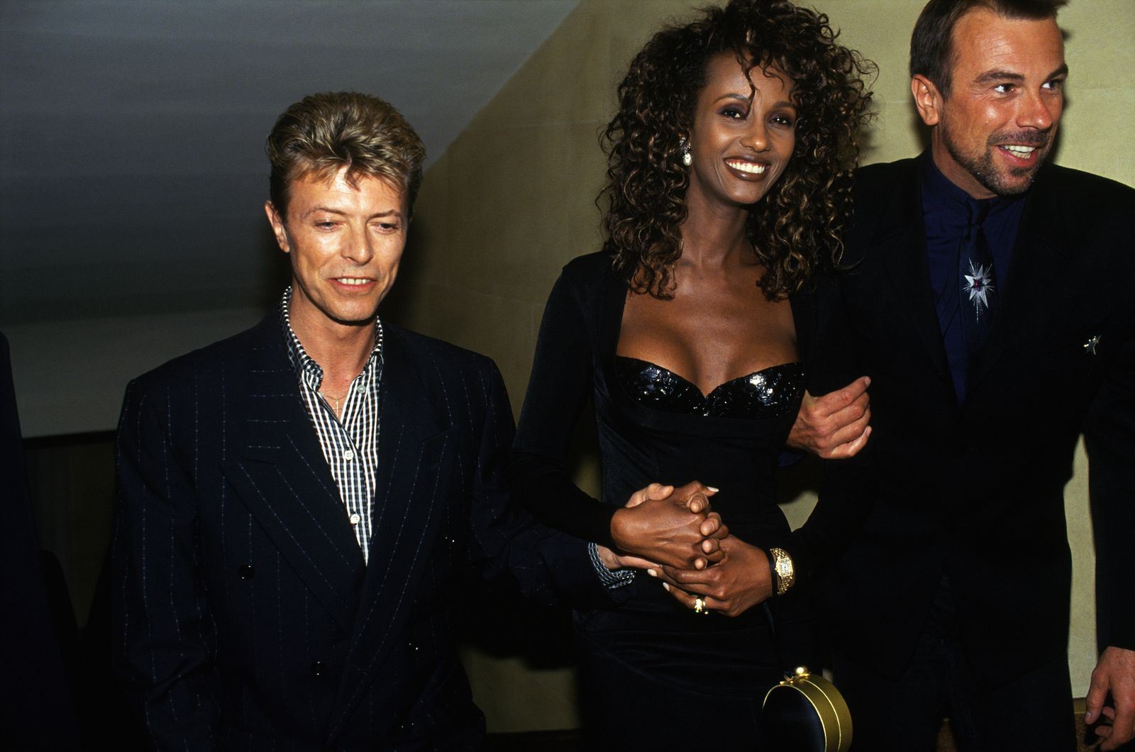 David Bowie With Top Model Iman And Thierry Mugler At Fete De La Musique