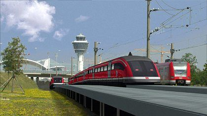 A computer-generated picture of the planned Transrapid in action in Munich.