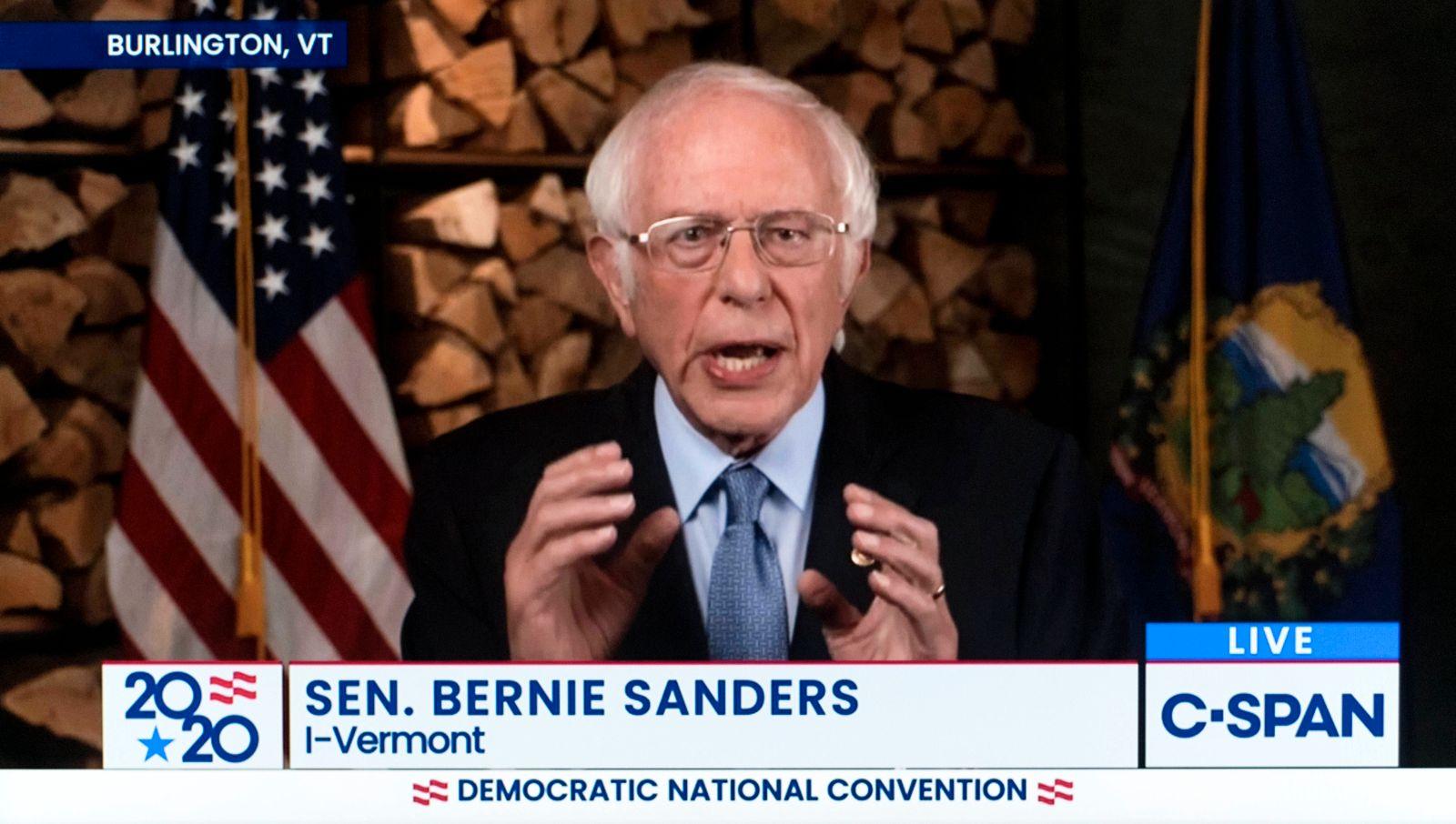 August 17, 2020 - Milwaukee, Wisconsin, U.S. - A screen grab from the C-SPAN coverage of Senator BERNIE SANDERS (I-VT)
