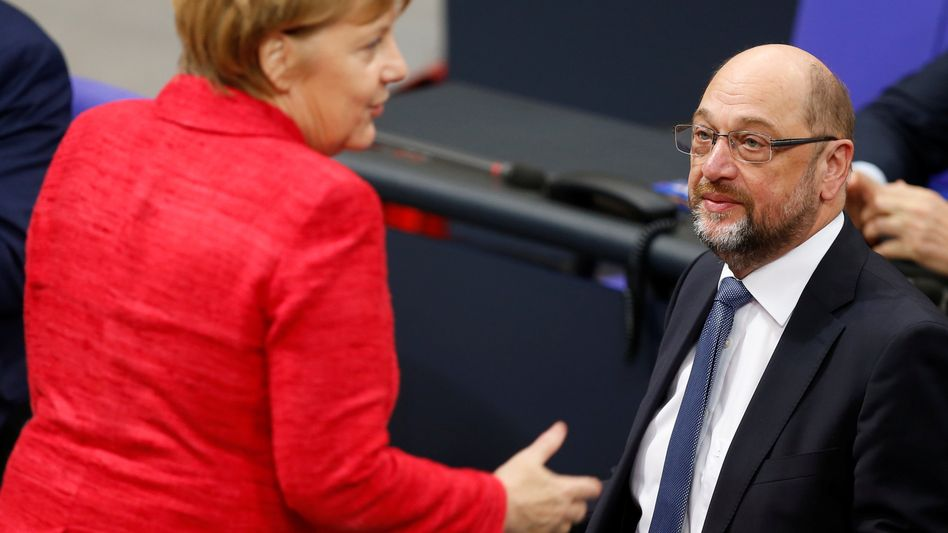 Angela Merkel, Martin Schulz (im Bundestag)