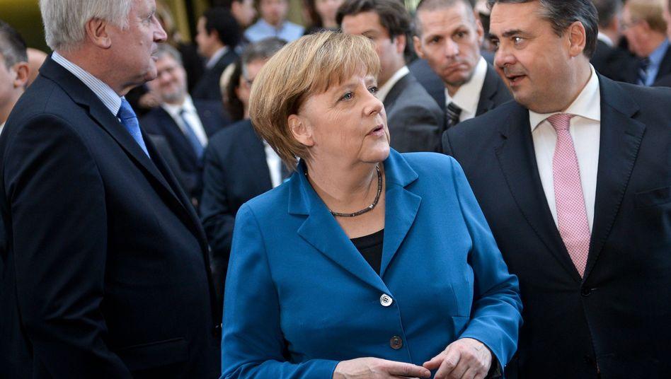 Merkel, Seehofer (r.) und Gabriel: Besprechung im Kanzleramt