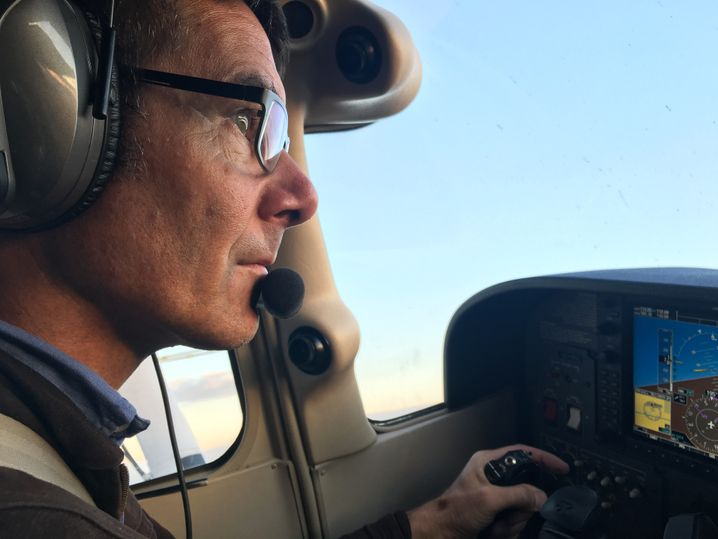 Martin Wikelski in his Cessna