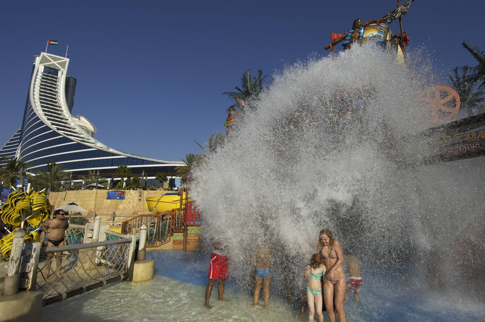 ARABIA A wave of water at the Wild Wadi Water Park Jumeirah Beach Dubai United Arab Emirates Feb