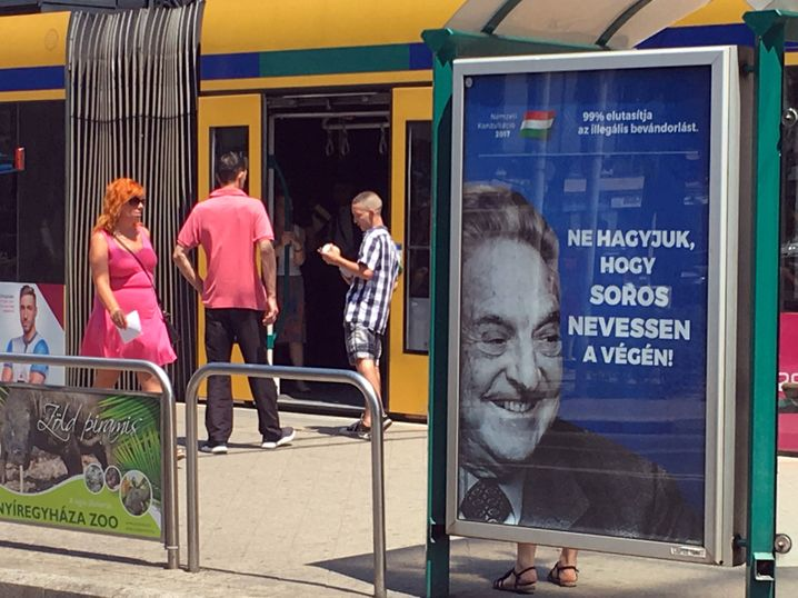 """Ungarische Wahlkampfwerbung von 2017 mit dem Slogan """"Lasst George Soros nicht das letzte Lachen haben"""""""
