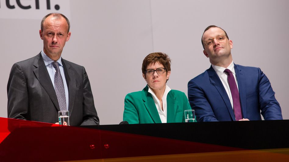 Die drei Kandidaten in Böblingen: Friedrich Merz, Annegret Kramp-Karrenbauer, Jens Spahn