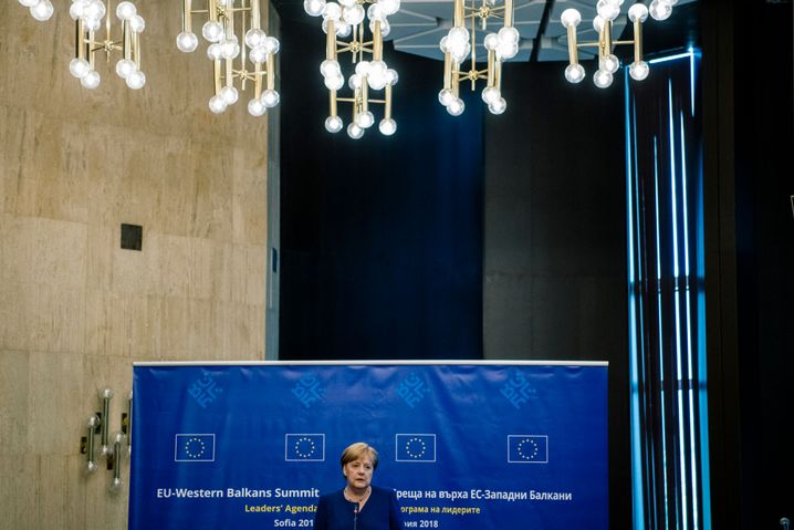 German Chancellor Angela Merkel at the EU-Western Balkans Summit in Sofia on Thursday.