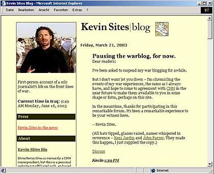 Semi-Privates Warblog des CNN-Manns Kevin Sites: Däpfer vom Arbeitgeber