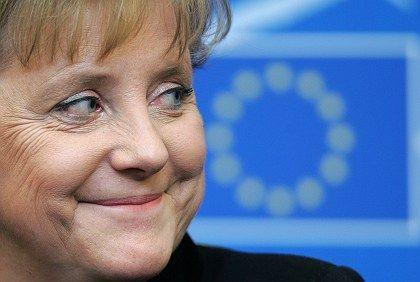 German Chancellor Angela Merkel eyes the future of the European Union.
