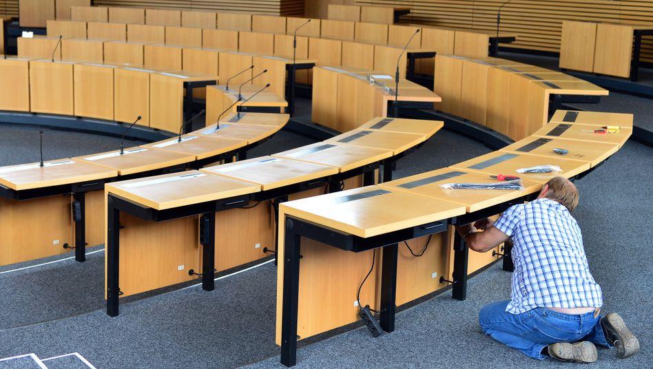 Der Plenarsaal des Thüringer Landtags in Erfurt wird auch Mai vorerst leer bleiben