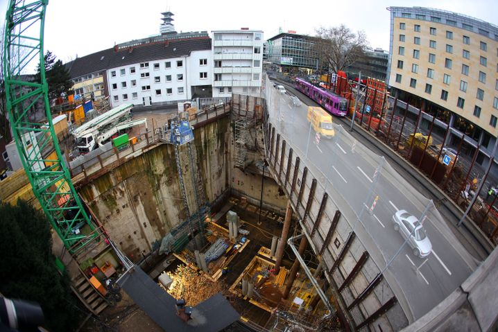 The construction site of Cologne's new north-south subway line.