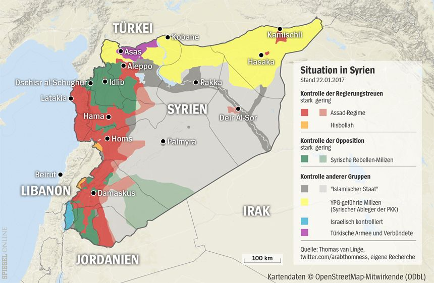 Grafik Karte Syrien - 22-01-2017