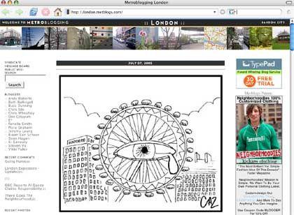 Screenshot Metblogs: Londons Auge weint