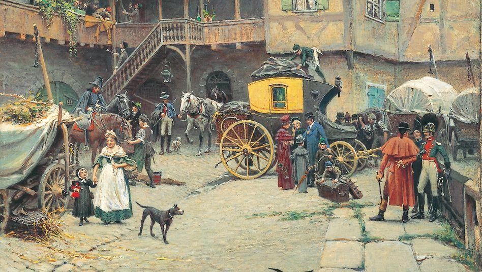 Verkehr:Seit Ende des 17. Jahrhunderts waren Reisen mit der Postkutsche möglich, im 18. Jahrhundert verkehrten sogar Schnellpostkutschen (Gemälde von Ferdinand Messerschmitt, 1880).