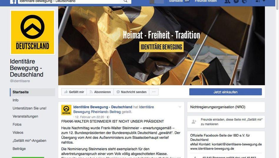 Facebook-Screenshot einer Seite der Identitären Bewegung
