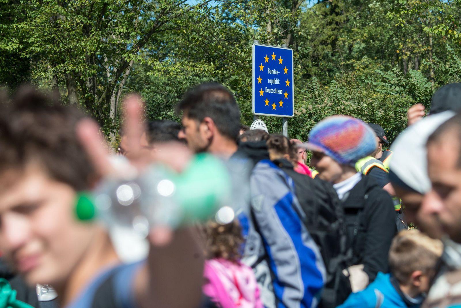 Flüchtlinge an der deutsch-österreichischen Grenze 2015