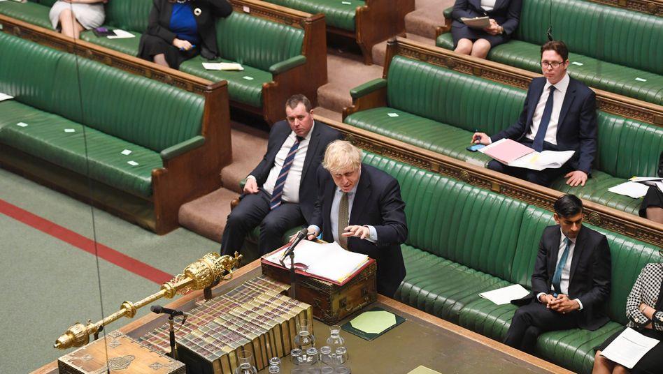 Boris Johnson im Parlament: Keine geschlossene Partei hinter sich
