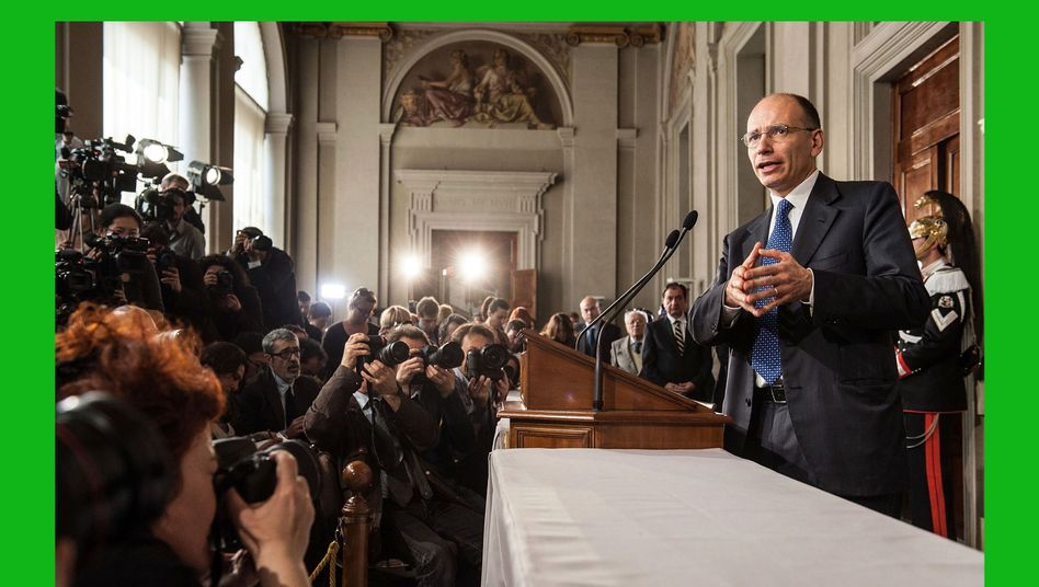 Enrico Letta addresses the press in Rome on April 24 after being tasked with forming a new Italian government.