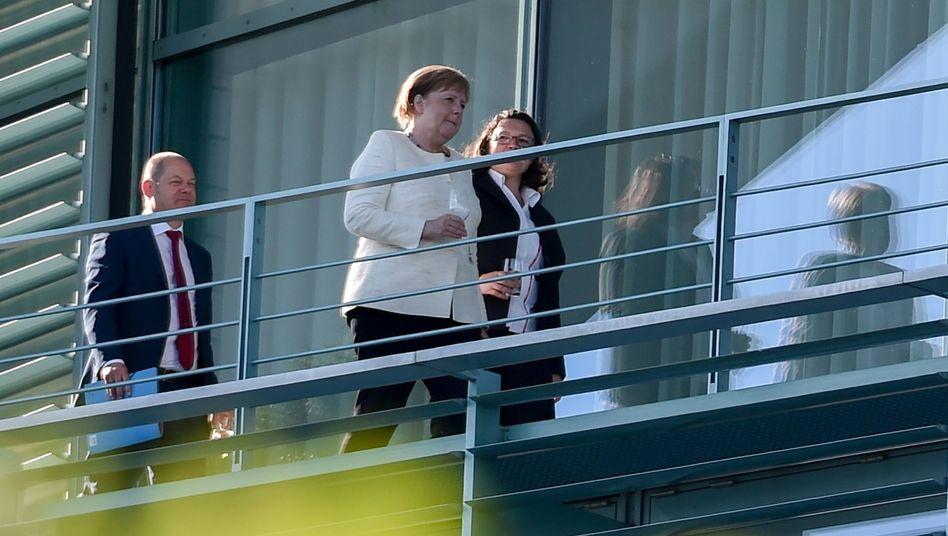 Vizekanzler Olaf Scholz, Bundeskanzlerin Angela Merkel und SPD-Chefin Andrea Nahles (von links)