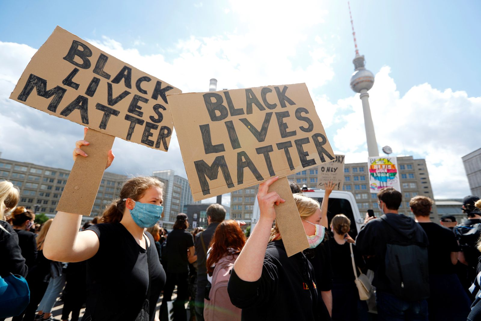 Protest against police brutality and the death in Minneapolis police custody of George Floyd, in Berlin