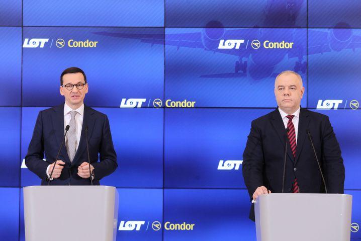 Polens Premierminister Morawiecki (l.), Minister für Staatsbeteiligungen Sasin