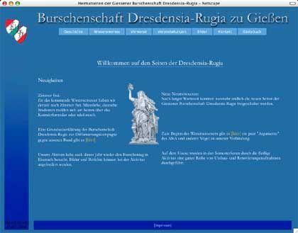 """Homepage der Dresdensia: """"Ehre! Freiheit! Vaterland!"""""""