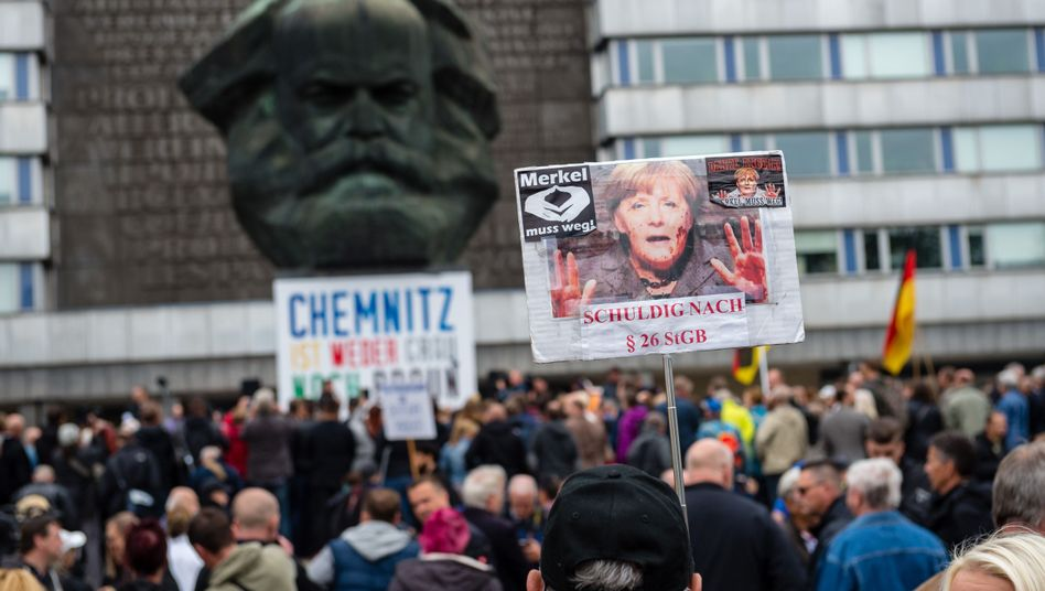 Demonstranten in Chemnitz