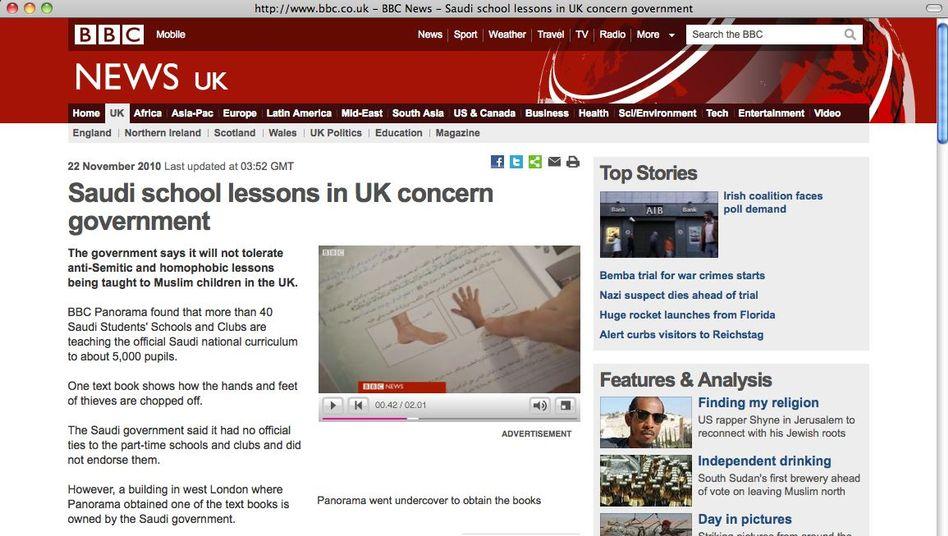 BBC-Web-Seite (Screenshot): Anleitung für das Abhacken von Körperteilen
