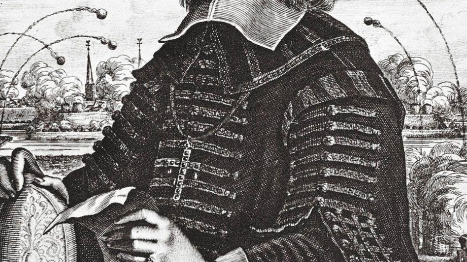 Fürstbischof Galen vor dem Hintergrund einer bombardierten Stadt (zeitgenössischer Stich)
