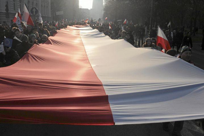 Demonstration gegen die Regierung in Warschau