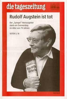 """""""taz""""-Homage zum Tode von Rudolf Augstein"""