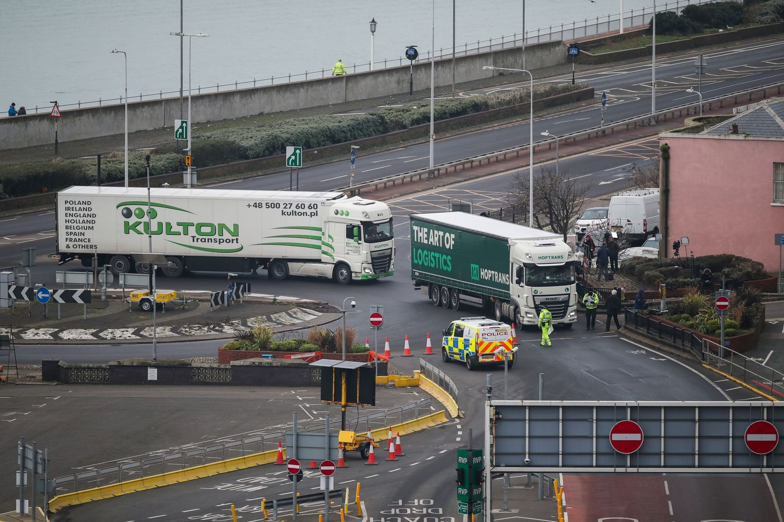 Lorries are stopped by Police to undergo checks at the entrance to the Port of Dover
