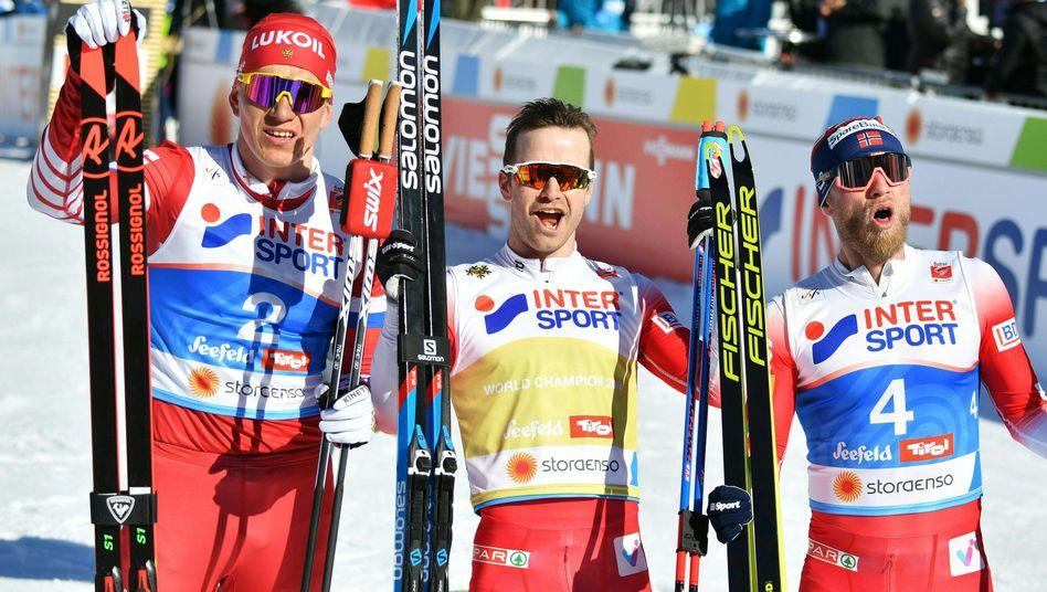 Alexander Bolshunov, Sjur Røthe und Martin Johnsrud Sundby (von links)
