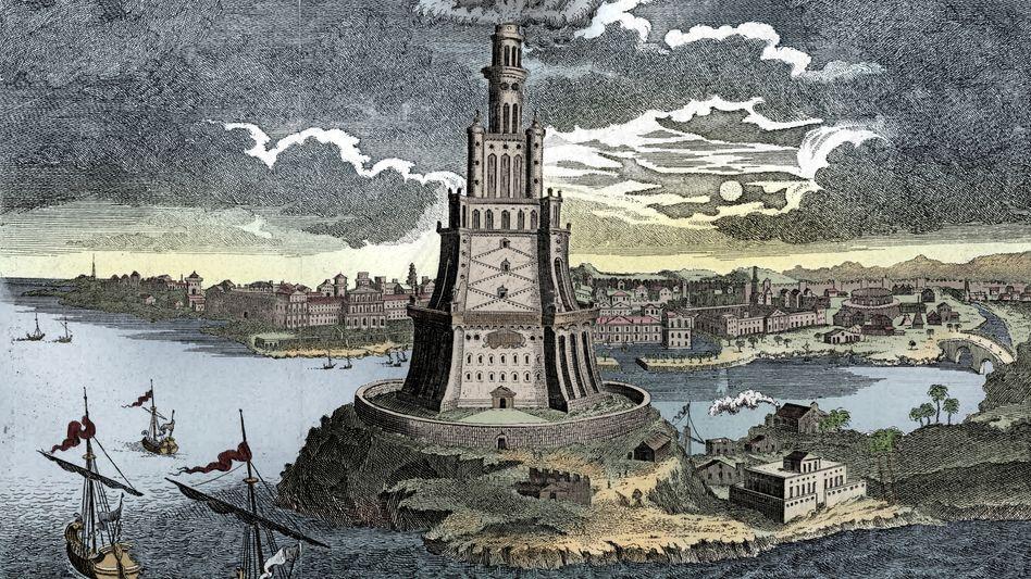 Der Leuchtturm von Alexandria (Darstellung aus dem 18. Jahrhundert), eines der sieben Weltwunder der Antike, entstand im 3. Jahrhundert v. Chr.