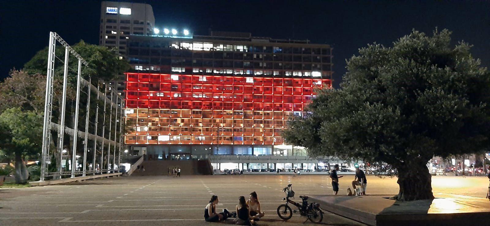 Tel Aviver Rathaus in deutschen Farben