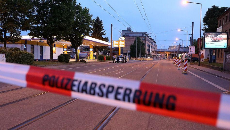 Polizeiabsperrung in Dresden
