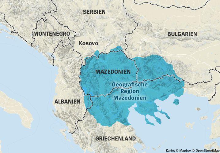 Die geografische Region Mazedonien