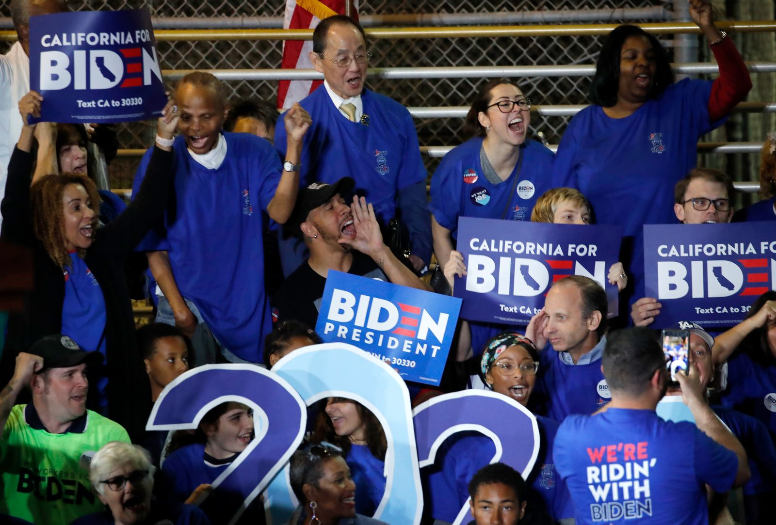 Supporters of Democratic U.S. presidential candidate and former Vice President Joe Biden attend his Super Tuesday night rally in Los Angeles, California