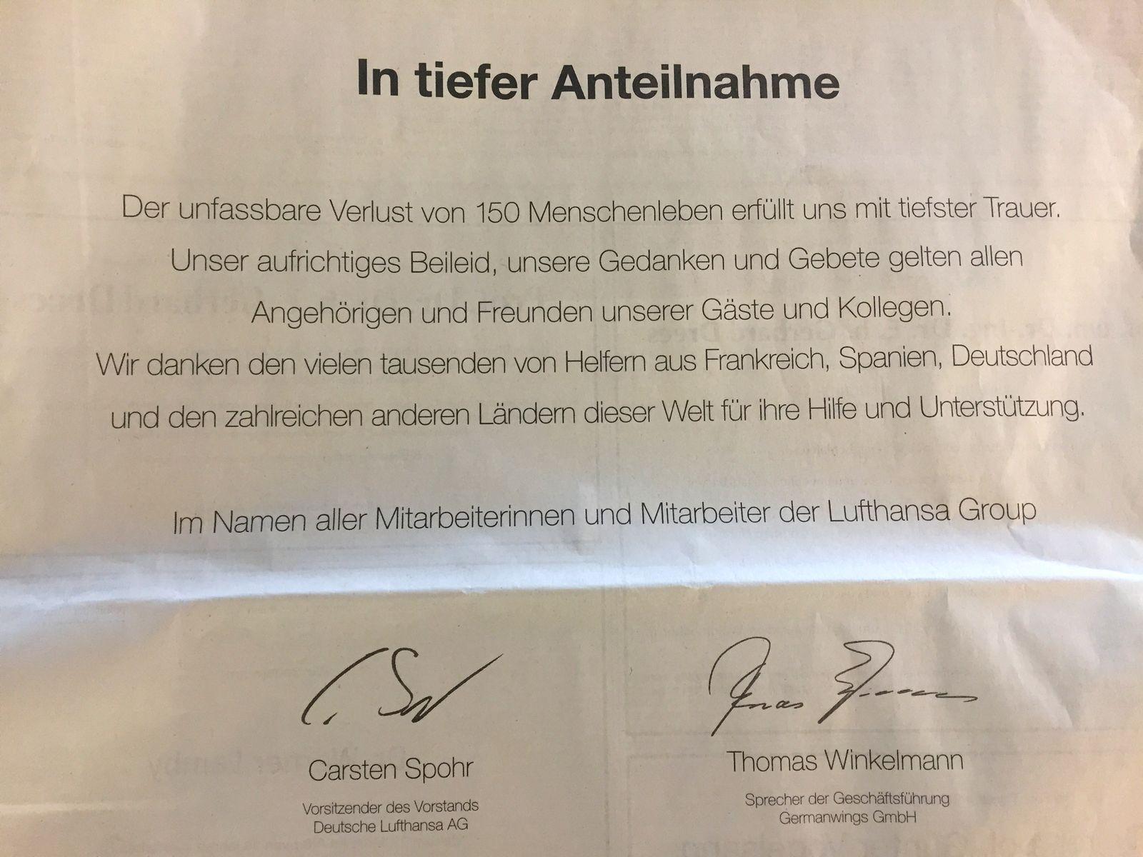 EINMALIGE VERWENDUNG Lufthansa/ Traueranzeige/