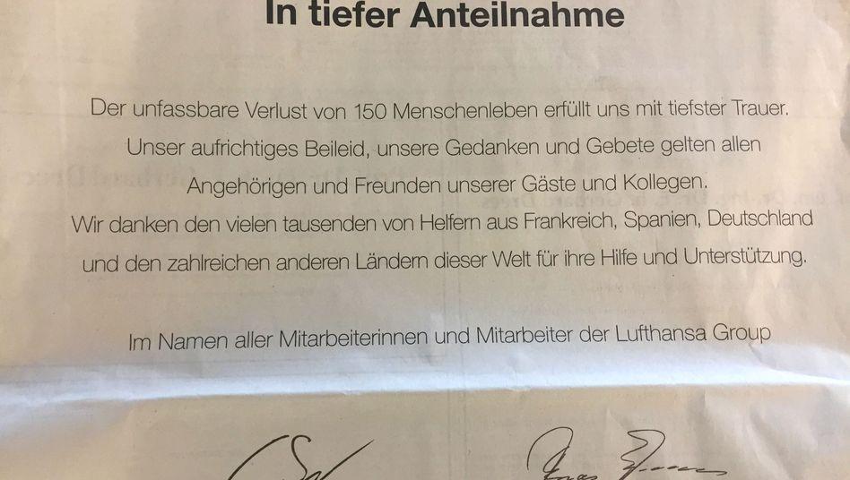 """""""Unser aufrichtiges Beileid"""": Traueranzeige von Germanwings und Lufthansa"""
