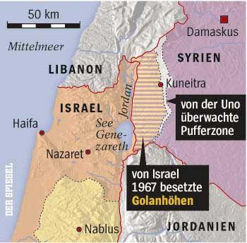 Golanhöhen: Ein kleiner Teil gehört zu Syrien, den Rest hat Israel vor 40 Jahren im Sechstagekrieg besetzt und 1981 annektiert.