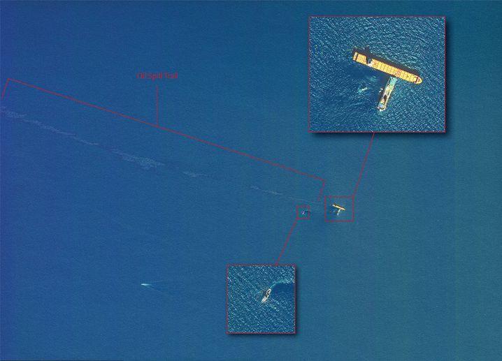Satellitenbild mit Ölfilm