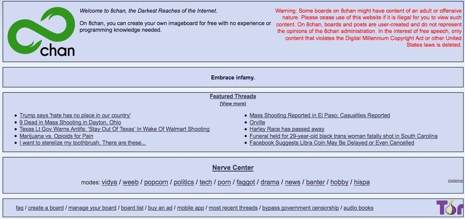 Startseite von 8chan: Ein Sammelplatz für Menschen, die selbst für 4chan zu extrem waren