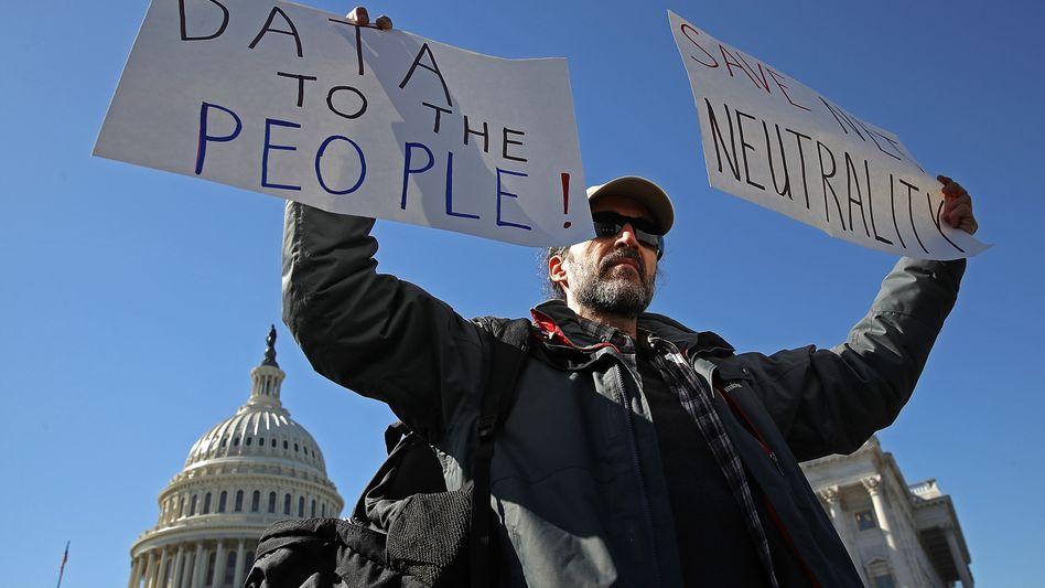 Protest für Netzneutralität in den USA