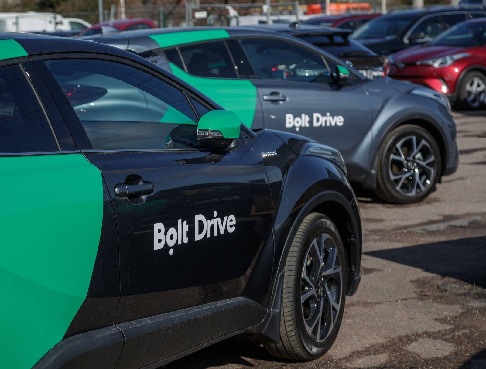 28.04.2021, Tallinn Bolt Drive branded new Toyotas at the parking lot of Amserv car dealer. Bolt will trial rental cars