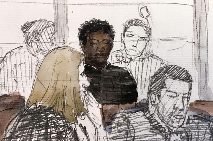 Zeichnung des Angeklagten im Gerichtssaal