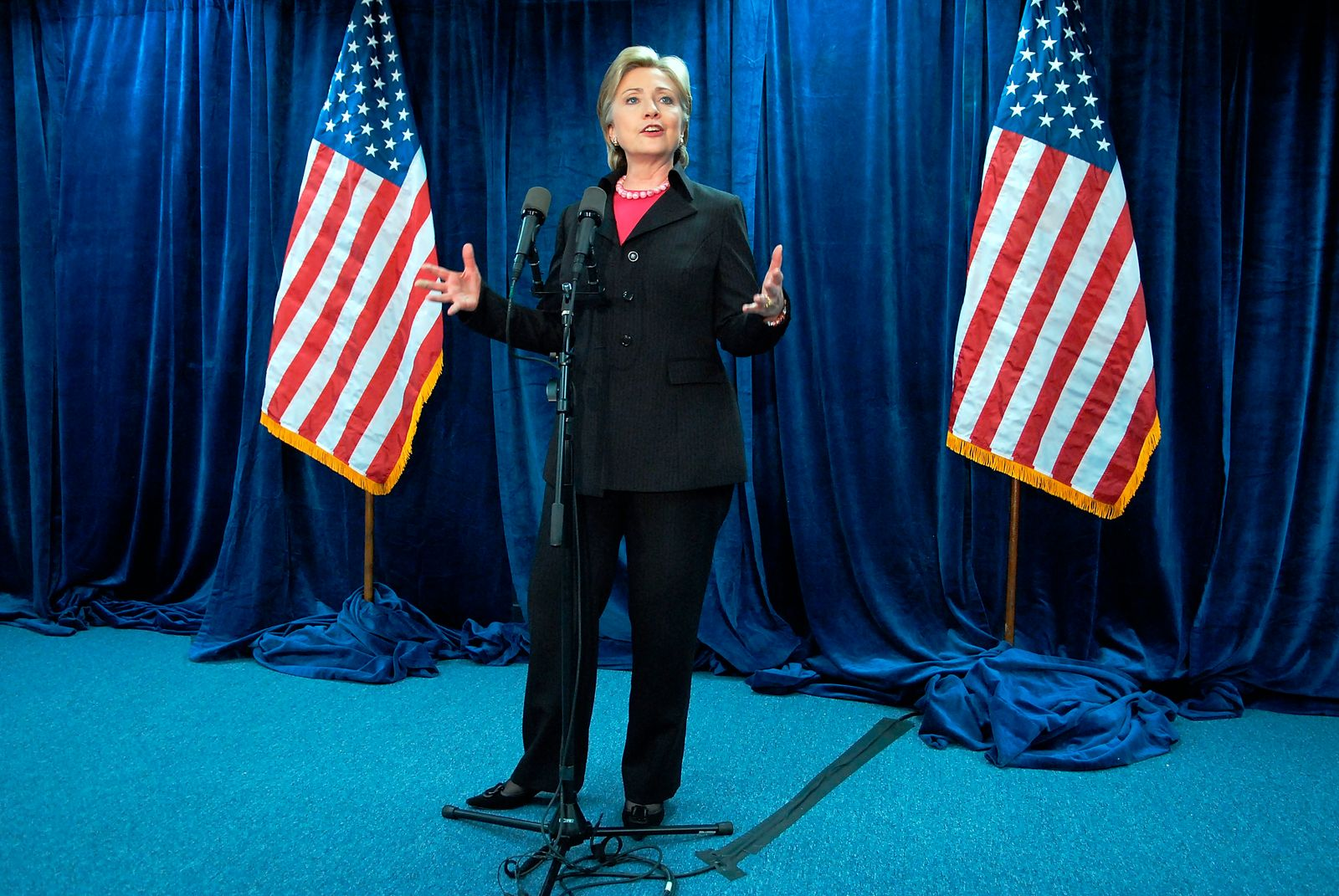 Hillary Clinton Holds News Conference At Her Campaign Headquarters